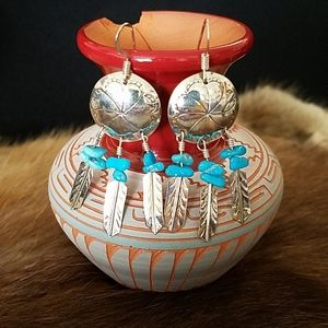 Jewelry - Sterling Silver & Turquoise Mini Dreamcatcher Earr